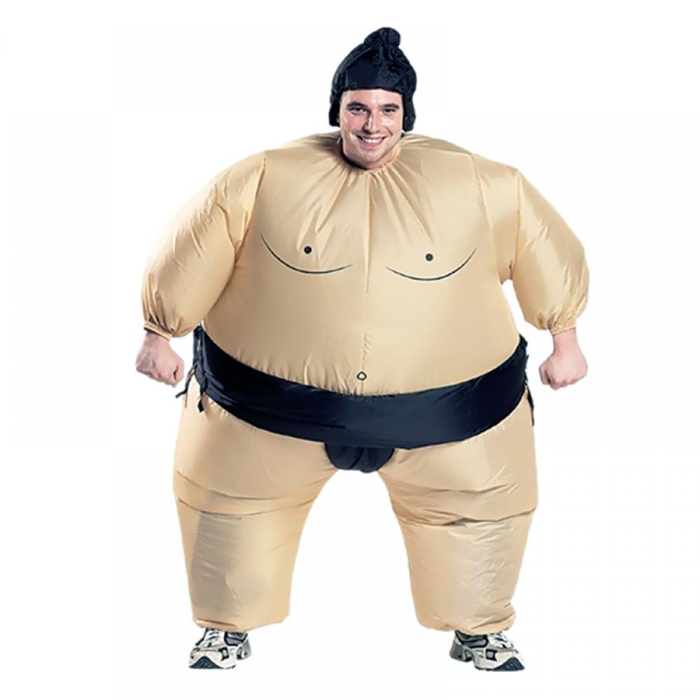 Inflatable Sumo Wrestler Fancy Dress Halloween Xmas Adult Costume Blue