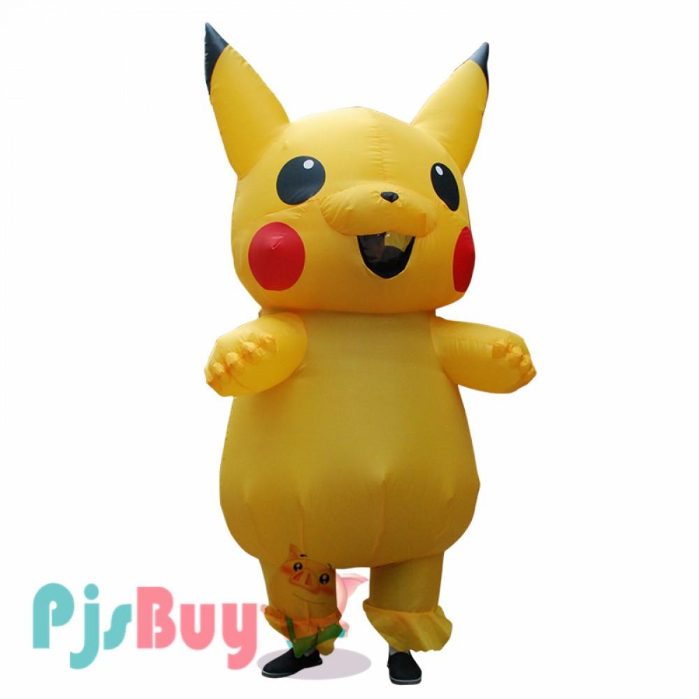 US Adult Mascot Pikachu Inflatable Costume Cosplay Halloween Funny Dress