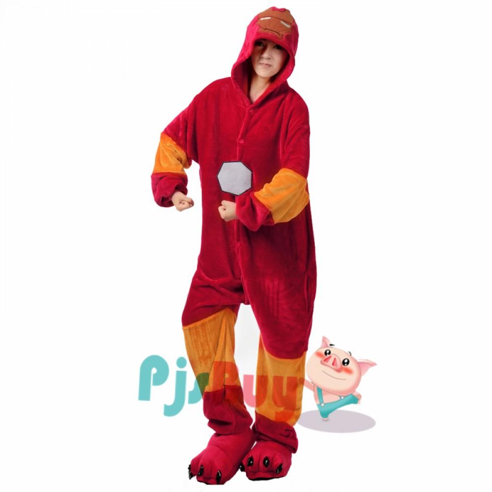 great fit famous designer brand luxury Iron Man Adult Animal Onesie Pajamas Super Hero Costume