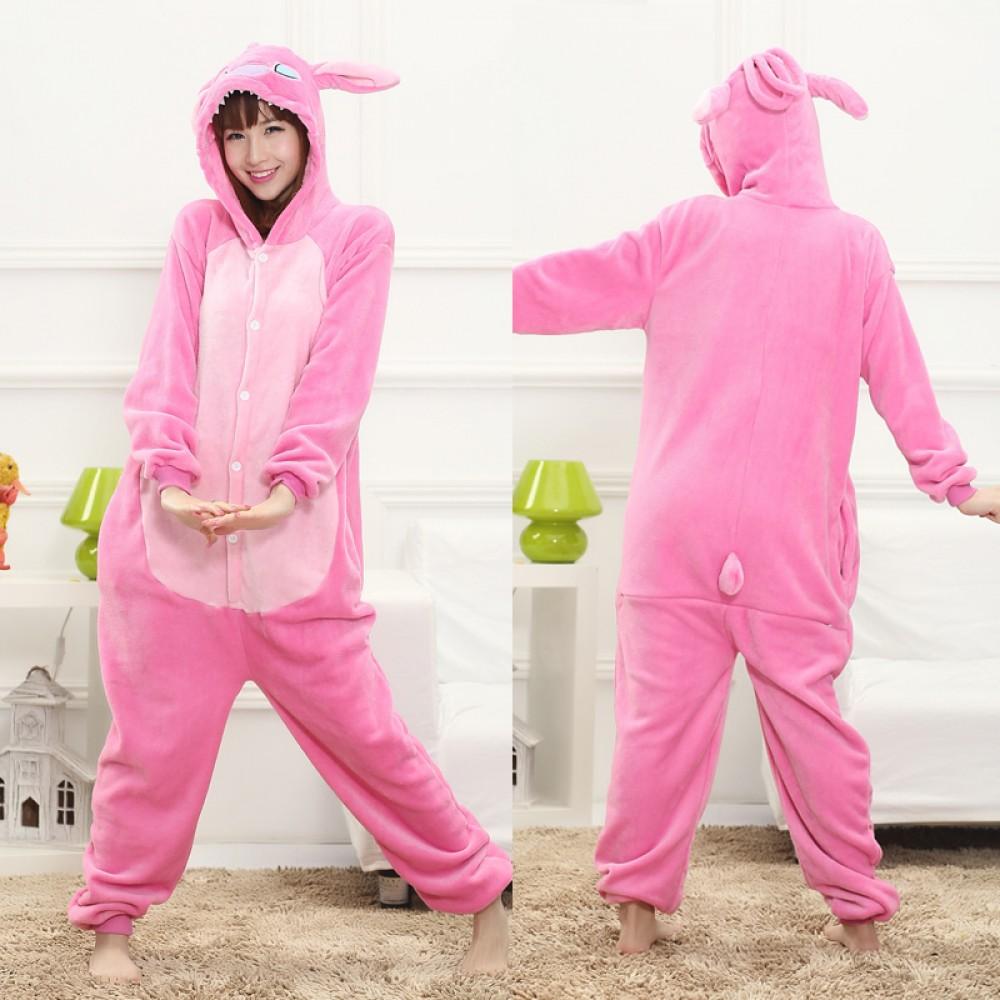 Angel Pink Stitch Adult Animal Onesies Pajamas With Best Price