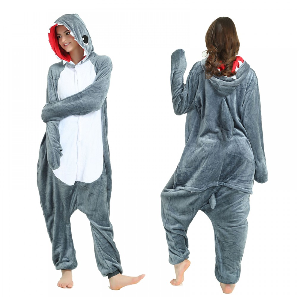 Grey Shark Adult Animal Onesie Pajamas Costume
