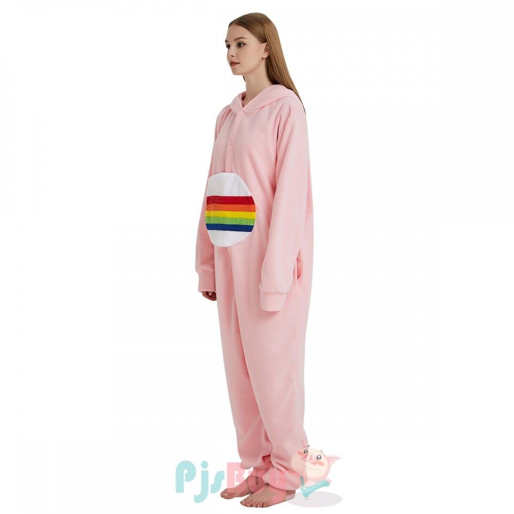 00146a764b0 Pink Rainbow Bear Onesie Pajamas Adult Animal Onesies