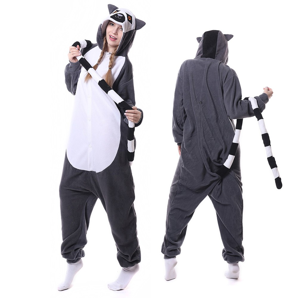Lemur Onesie Pajamas for Adult Animal Onesies Cosplay ...