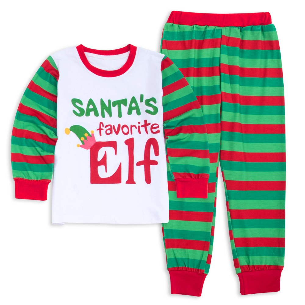 Christmas Pajamas.Elf Red Green Stripes Matching Family Christmas Pajamas