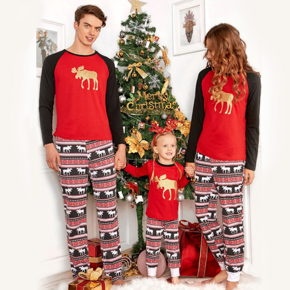 Matching Family Christmas Pajamas.Golden Reindeer Matching Family Christmas Pajamas