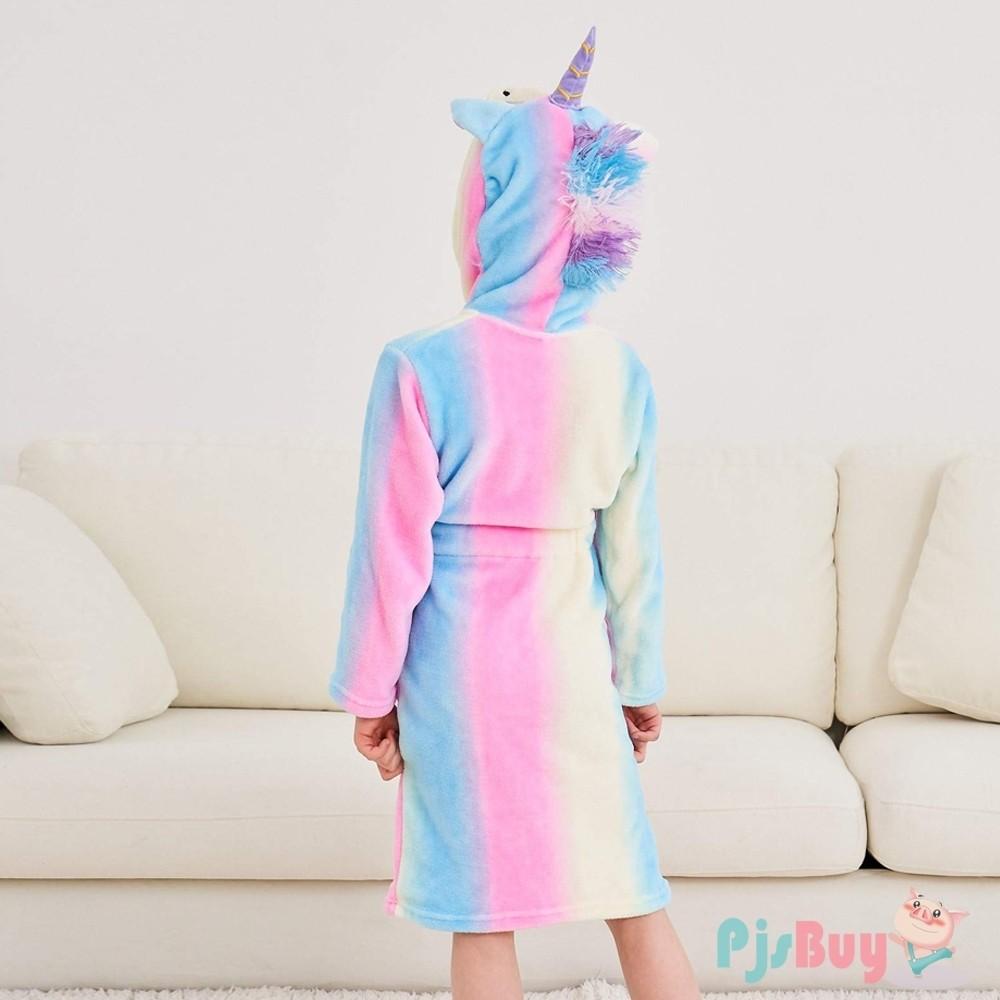 Doctor Unicorn Soft Unicorn Hooded Bathrobe Sleepwear with Stripe