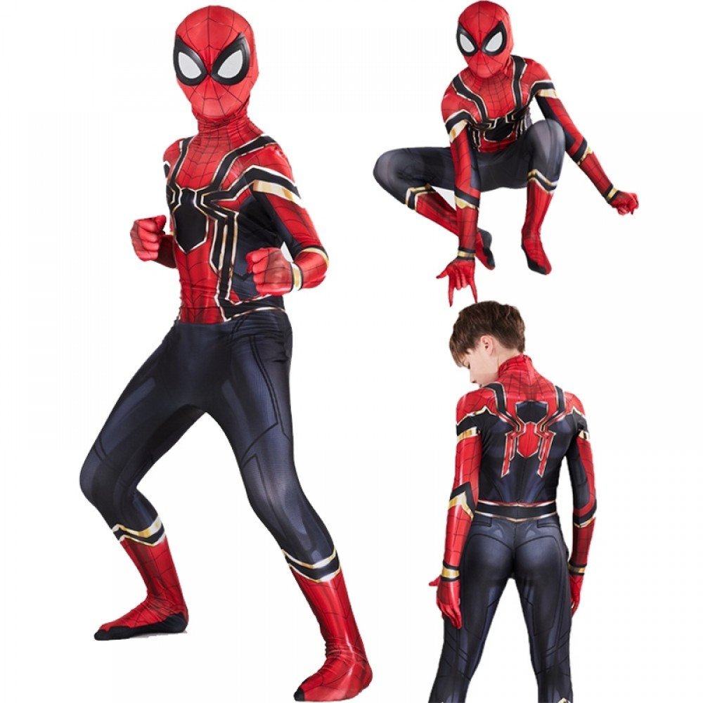 Iron Spider Man Suit Costumes Cospaly Onesie Suits for Boys Kids ...