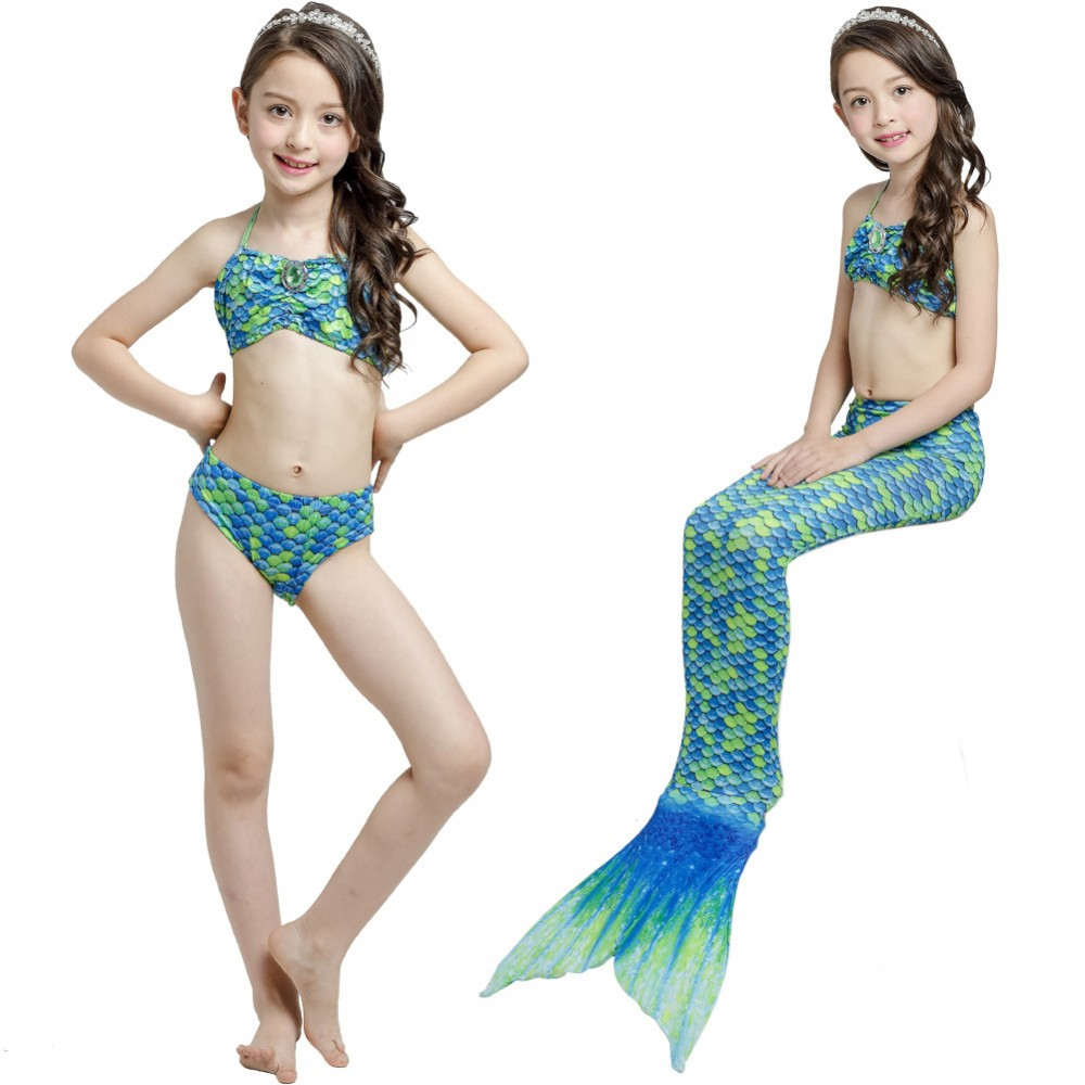 Girl Kids Swimmable Mermaid Tail Bikini Sets Bathing Swimsuit Costume Beachwear