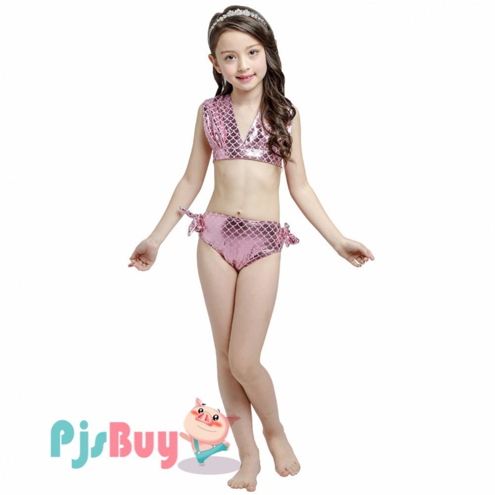 K735P Kids Girls Swimmable Mermaid Tail Summer Bikini Swimwear Swimsuit Costume