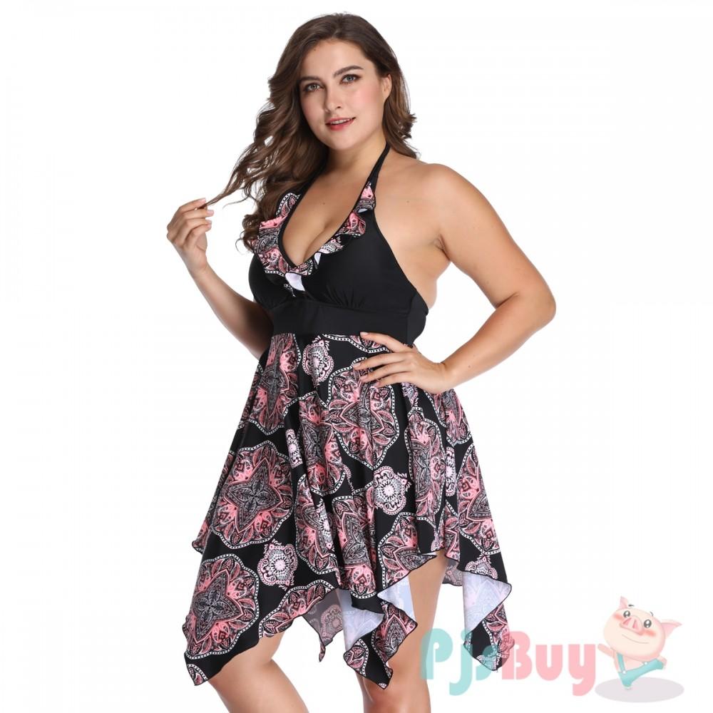 Black Swim Dress Plus Size Swimwear Retro Print Cheap Bathing Suits