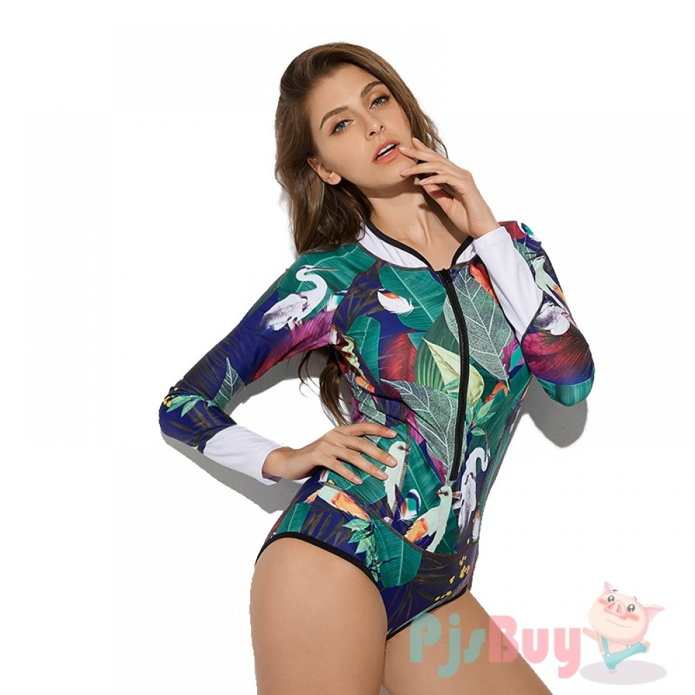 Crane One Piece Rash Guard Women Swimsuits Surf Suit Zip Up Long Sleeve -  Pjsbuy.com