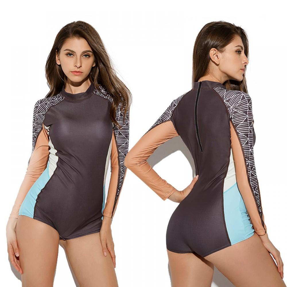 2Pcs Womens Zippered Swimwear Rash Guard Long Sleeve Bikini Surfing Bathing Suit