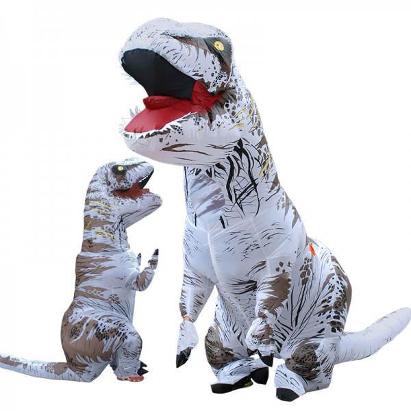 Inflatable Blow Up T Rex Dinosaur Costumes Funny Suit For Adults & Kids Grey