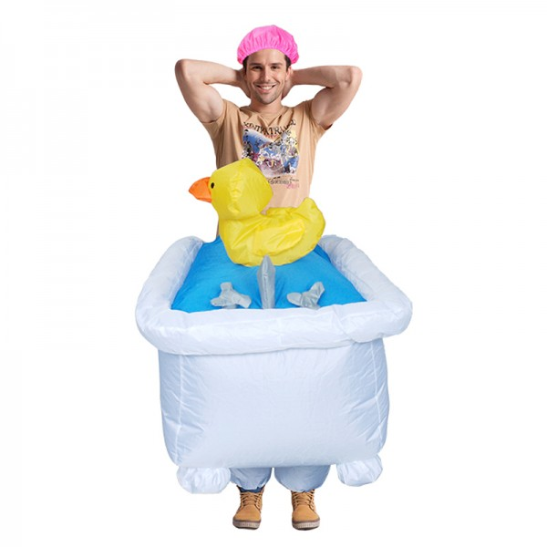 Adult Inflatable Costume Blow Up Bathtub Costume Halloween Fun Suit