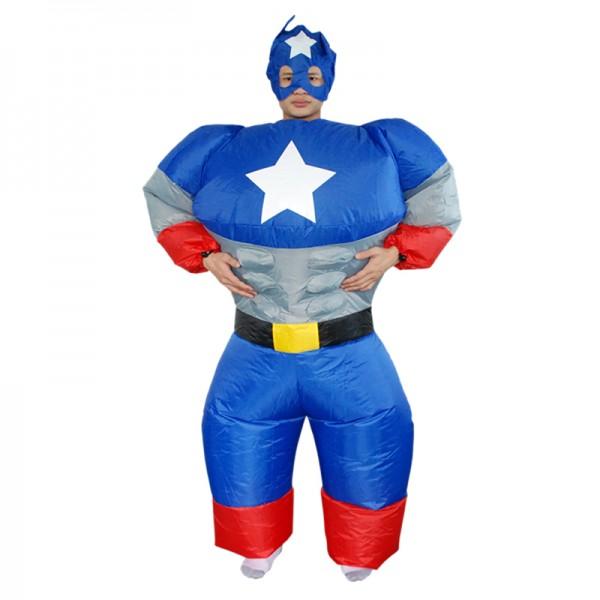 Captain America Inflatable Costume Blow Up Costume Halloween Fun Suit