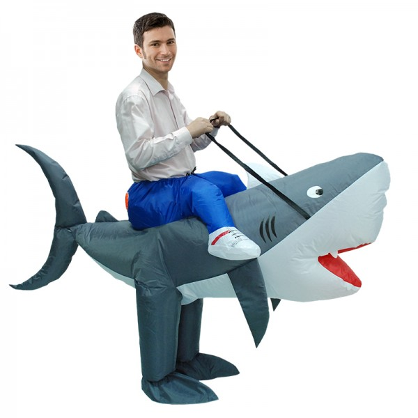 Inflatable Shark Costume Blow Up Costumes Halloween Funny Suit For Adult