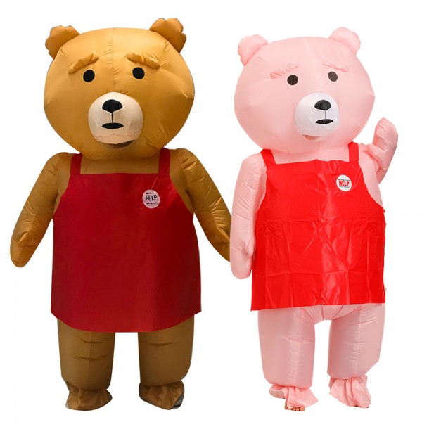 Inflatable Bear Blow Up Costumes Halloween Animal Funny Suit for Adult