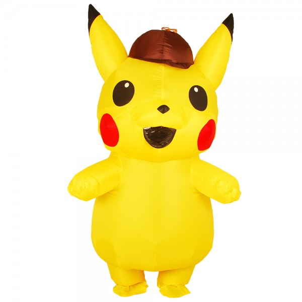 Inflatable Detective Pikachu Blow Up Costumes Party Halloween Animal Funny Suit for Adult & Kids