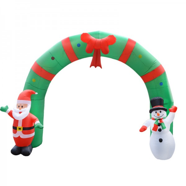 Blow Up Santa And Snowman Arched Door Out Door Christmas Inflatable Decorations