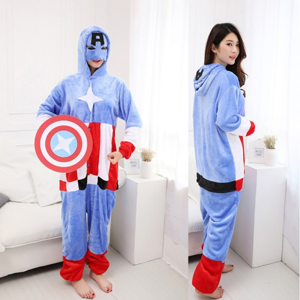 Captain America Adult Animal Onesie Pajamas Super Hero Costume