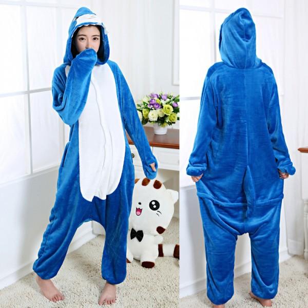 Blue Shark Adult Animal Onesie Pajamas Costume