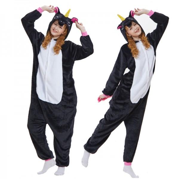 Black Unicorn Adult Animal Onesie Pajamas Costume