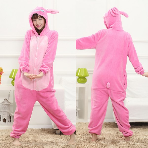 Angel Pink Stitch Adult Animal Onesie Pajamas Lilo & Stitch Costume