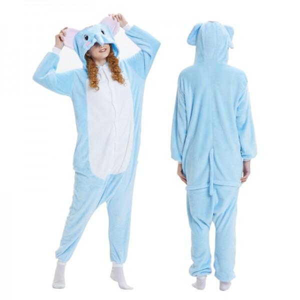 Blue Elephant Womens & Mens Animal Onesie Pajamas Costume