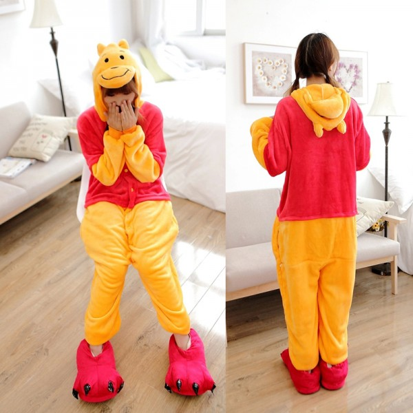 Winnie the Pooh Bear Adult Animal Onesie Pajamas Costume