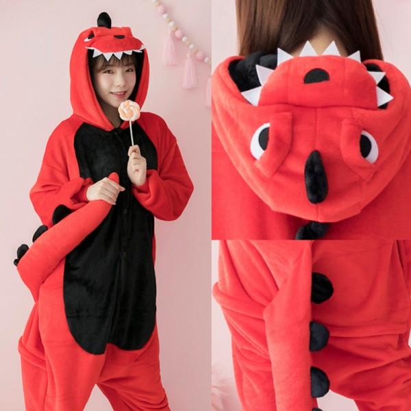 Red Dinosaur Adult Animal Onesie Pajamas Costume