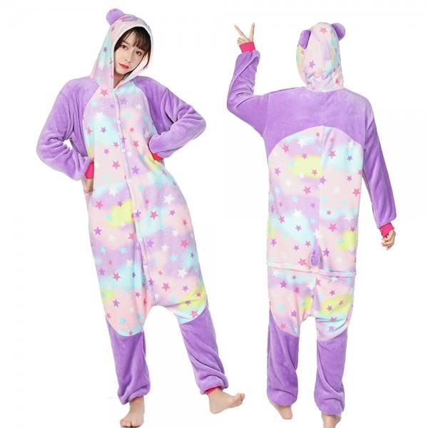 Star Panda Onesie Pajamas Costumes Adult Animal Onesies Button Closure
