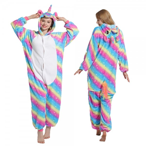 Rainbow Star Unicorn Onesie Pajamas Costumes Adult Animal Onesies Button Closure