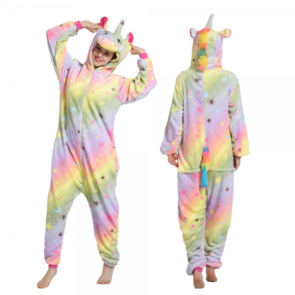 Yellow Rainbow Star Unicorn Onesie Pajamas Costumes Adult Animal Onesies Zip up