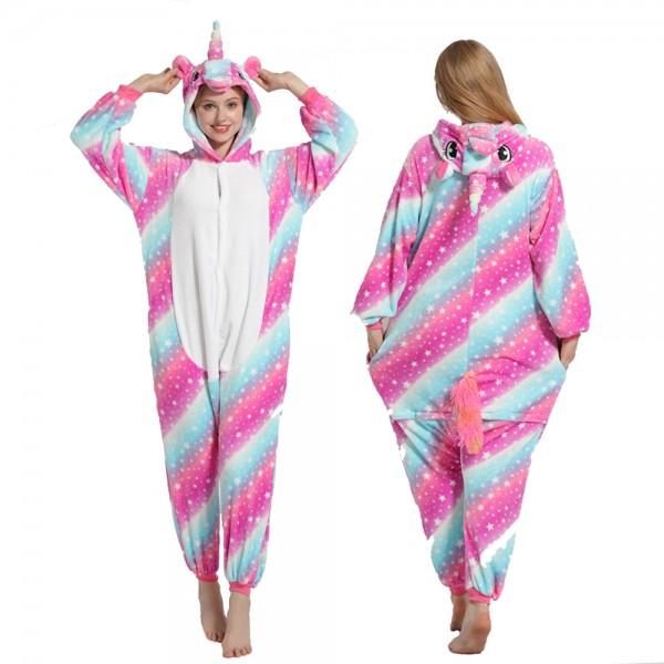 Rose Rainbow Unicorn Onesie Pajamas Costumes Adult Animal Onesies Button Closure