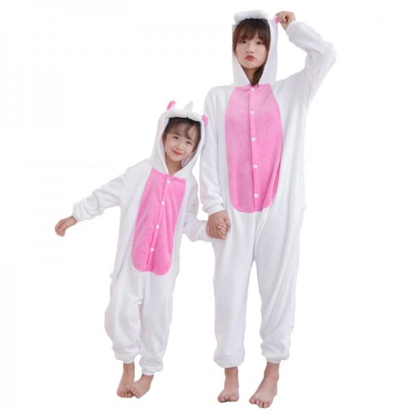 Pink Unicorn with Wings Onesie Pajamas Costumes for Adult & Kids Animal Onesies