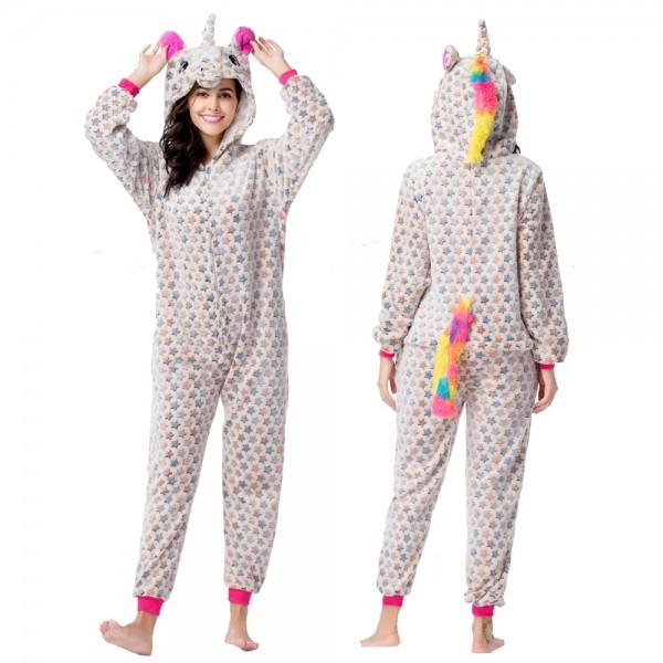 Beige Star Onesie Pajamas Costumes Adult Animal Onesies Zip up