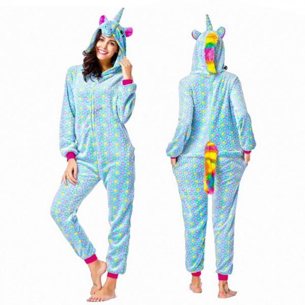 Blue Star Onesie Pajamas Costumes Adult Animal Onesies Zip up