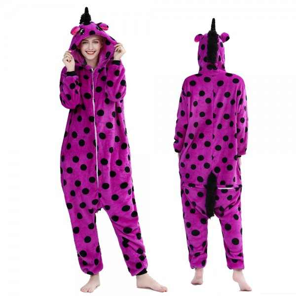 Purple Spot Unicorn Onesie Pajamas Costumes Adult Animal Onesies Zip up