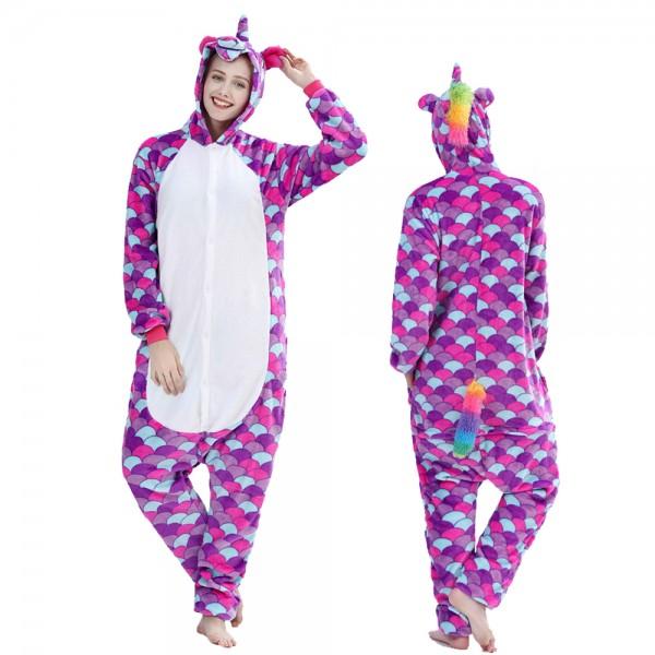 Purple Scales Unicorn Onesie Pajamas Costumes Adult Animal Onesies Button Closure