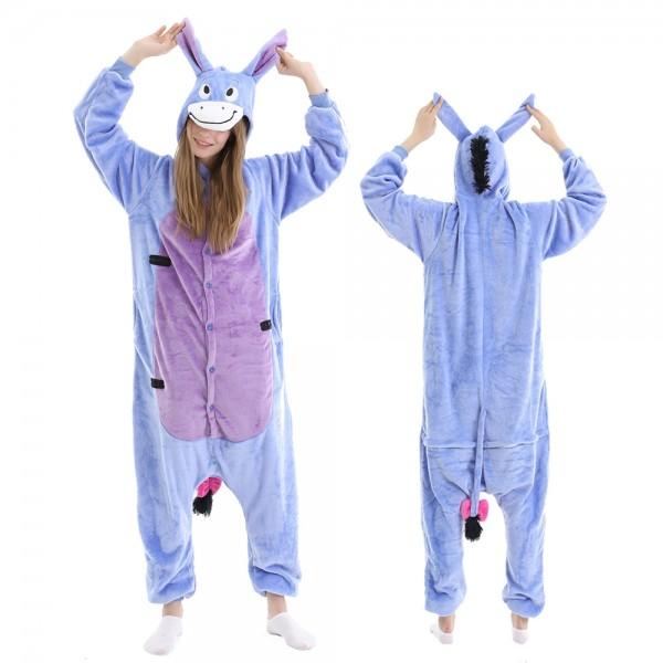 Eeyore Onesie Pajamas Adult Animal Onesies Winnie the Pooh Halloween Costumes