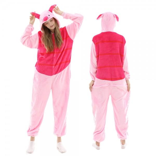 Piglet Onesie Pajamas Adult Animal Onesies Winnie the Pooh Halloween Costumes