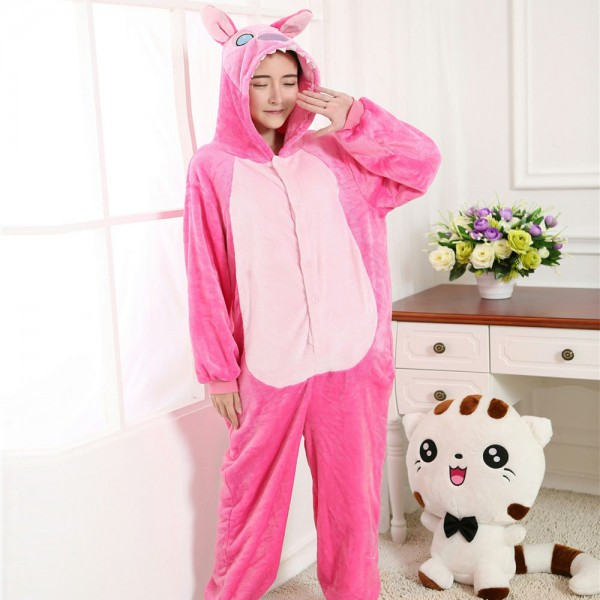Pink Stitch Onesie Costumes Adult Animal Onesies Flannel Pajamas