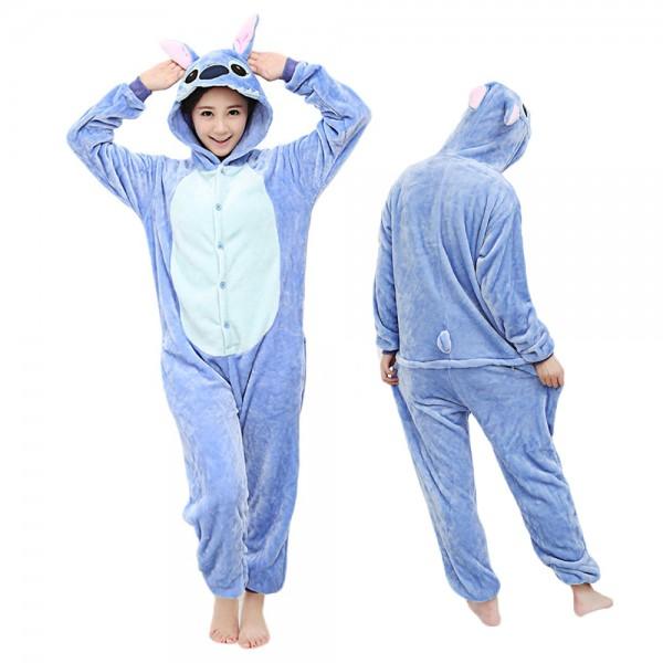 Stitch Onesie Adult Animal Onesies Halloween Costumes Flannel Pajamas