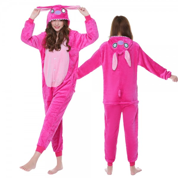 Lilo & Stitch Onesie Pajamas Pink Adult Animal Onesies Halloween Costumes