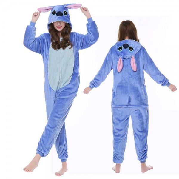 Stitch Onesie Costumes Flannel Pajamas Adult Animal Onesies