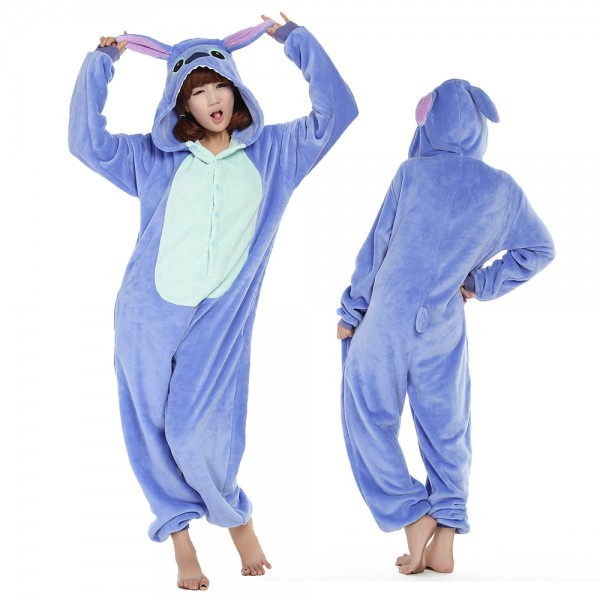 Stitch Onesie Costumes Adult Animal Onesies Halloween Flannel Pajamas