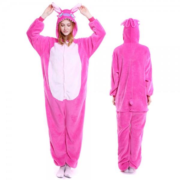 Pink Stitch Onesie Costumes Adult Animal Onesies Halloween Flannel Pajamas