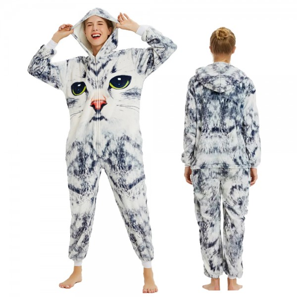 Cat Onesie Flannel Pajamas Adult Animal Onesies Halloween Costumes