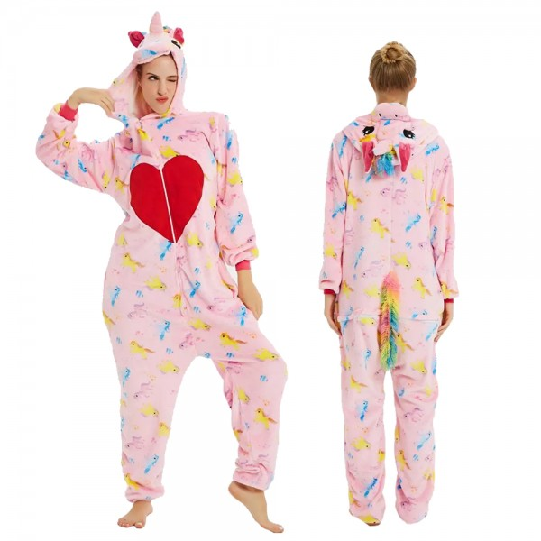 Pink Love Unicorn Onesie Flannel Pajamas Adult Animal Onesies Halloween Costumes