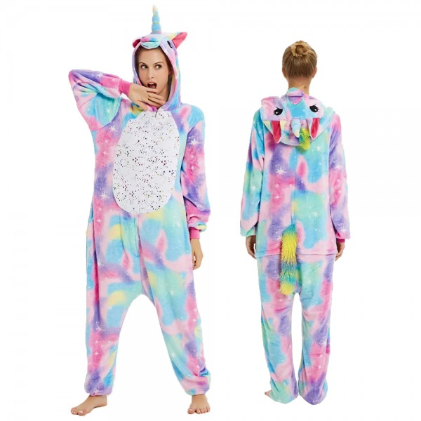 Colorful Phantom Unicorn Onesie Flannel Pajamas Adult Animal Onesies Halloween Costumes